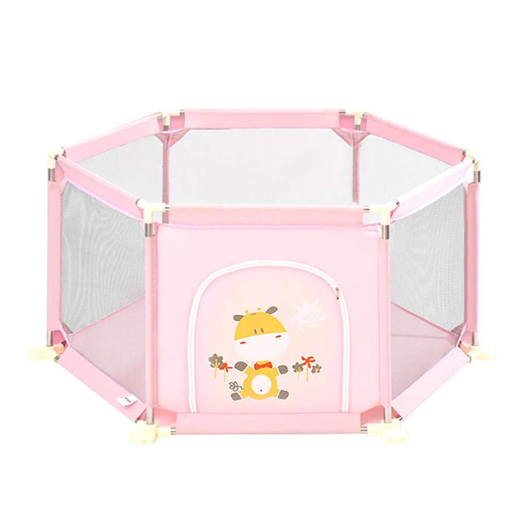 Yxsd Baby Playpen 6-Panel Play Yard Indoor Playground Safety Protective Fence Pink (Size : 73cm)