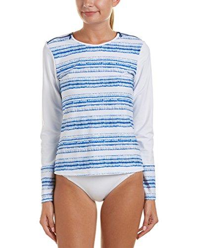 Cabana Life Women's Navy Batik Stripe Shoulder Zipper Rashguard, Navy/White, M (Shirt Stripe Cabana)