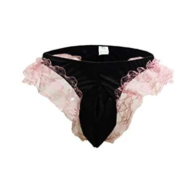 5b0d63be4451 wear2me Sexy Mens Silky Satin Brief Flutter Ruffled Underwear Lace Sissy  Panties at Amazon Men's Clothing store: