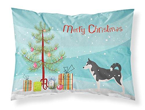 Caroline's Treasures BB2998PILLOWCASE Siberian Husky Merry Christmas Tree Fabric Pillowcase, Standard, Multicolor from Caroline's Treasures