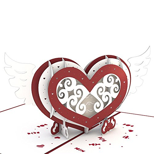 Lovepop Winged Heart Pop Up Card, 3D Card, Valentine's Day, Heart Card, Love - Heart Card Out Pop