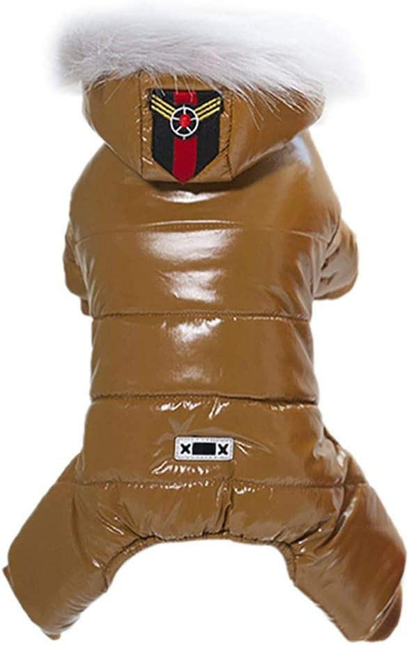 F Brown Norbi Pet Puppy Waterproof Windproof Winter Coat Dog Warm Four-Legged Apparel for Cold Weather Dog Hoodies Outwear Clothes