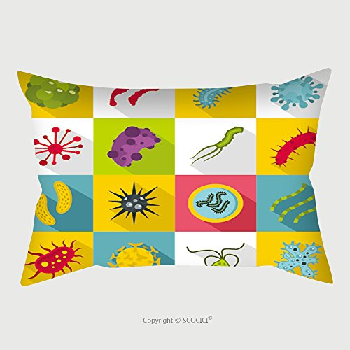 Custom Satin Pillowcase Protector Virus Bacteria Icons Set Flat Illustration Of Virus Bacteria Vector Icons For Web Organisms 520649896 Pillow Case Covers Decorative by chaoran