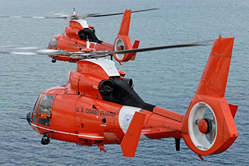 Two Coast Guard HH-65C Dolphin helicopters fly in formation over the Atlantic Ocean Poster Print by Stocktrek Images (34 x 22)