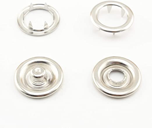 Snap Buttons Press Studs Buttons Black and Silver WXJ13 200 Sets 2 Colors Metal Sew-on Snap Fasteners 8mm and 10mm