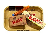 RAW Organic Unrefined Pre-Rolled Cone 32 Pack Combo (1 1/4 Size) Includes RAW Rolling Papers Rolling Tray, RAW Organic 1.25 32 Pack of Cones, RAW Loader, Roll With Is Doobtube (small)