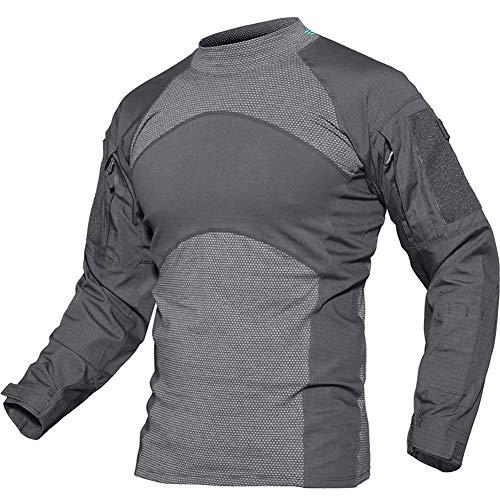 (TACVASEN Tactical Combat Quick Dry Shirt Military Duty Uniform Hunting T-Shirt Gray,US L/Tag 2XL)