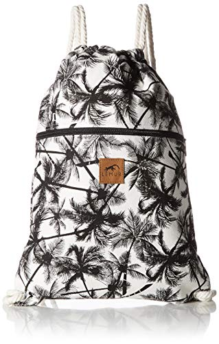 Lemur Bags Canvas Drawstring Backpack with Front Zipper Pocket - Large 19