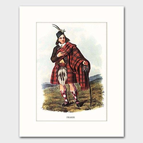 Scottish Clan Costume (Fraser Clan, Highlands Dress Art w/Mat (Scottish Last Name Wall Decor) --- Matted Print)