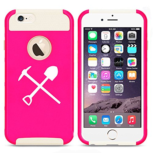 - For Apple iPhone 7 Shockproof Impact Hard Soft Case Cover Shovel Pick Miner Mining Tools (Hot Pink-White)
