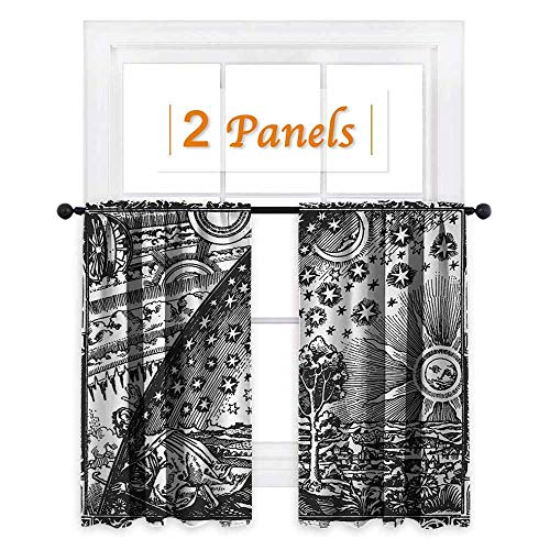 maisi Vintage, Window Curtain Fabric, Medieval Sacred Picture with Moon and Sun End of The World Themed Illustration, for Boys Room (W63 x L45 Inch) Charcoal Grey