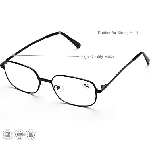 b41ee0572eb Amazon.com  Reading Glasses 1.5 For Women   Man By See 626 - Alphareader 3  Pairs Value Packed Metal Readers- Unisex Reading Glasses - Black