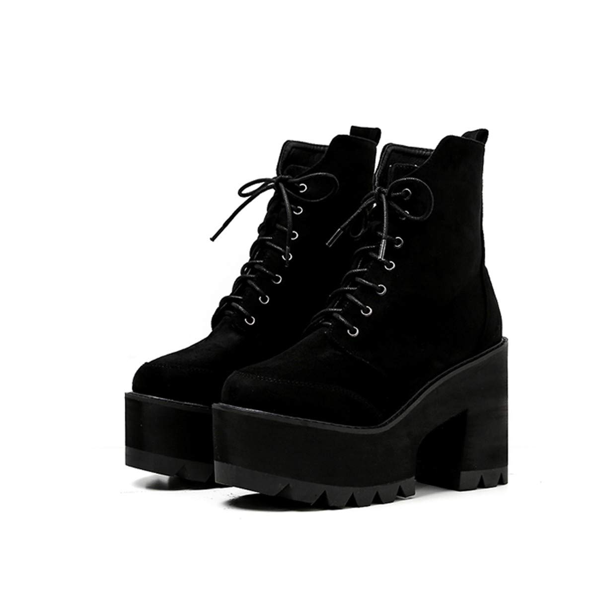 SIKESONG Bottes Femmes Chaussures Punk Automne Bottes Talons Hauts Chaussures Hiver Hiver Chaussures Neige Bottes Moto Dentelle Femmes Chaussures 7.5|Black c7f890