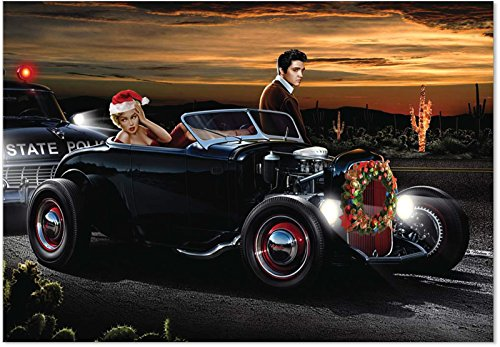 12 Boxed 'Joy' Christmas Cards with Envelopes 4.63 x 6.75 inch, Hilarious, Classy Elvis Painting Holiday Notes, Happy Holidays with the King of Rock and Roll Christmas Cards -