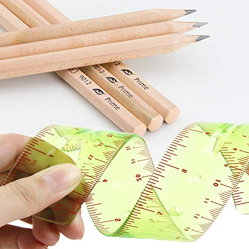 Flexible Ruler 12 inch 2 Per Pack and Pre-sharped 2B Art Sketching Pencil 6 Per Pack by larkpad