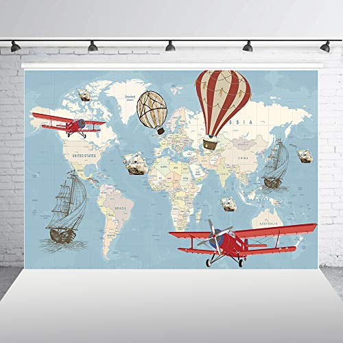 (HUAYI 7x5ft Hot Air Balloon Aircraft Sailing Ship Birthday Backdrop World Map Adventure Awaits Globe Travel Baby Adults Portrait Photo Booth Vinyl Background Wallpaper Studio Photocall Props)