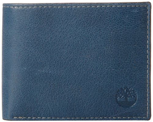 Timberland Men's Leather Wallet with Attached Flip Pocket, Navy (Fine Break), One Size