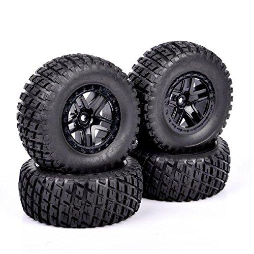 Ruixunte 4PCS RC 1:10 Short Course Truck 12mm Hex Tires&Wheel Rim For TRAXXAS SlASH