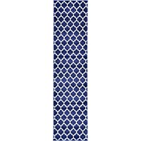 Unique Loom Trellis Collection Moroccan Lattice Dark Blue Runner Rug (7 x 10)