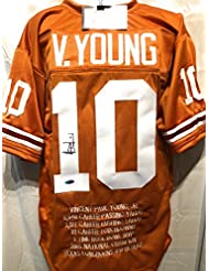 Vince Young Texas Longhorns Signed Autograph Orange Embroidered Stat Custom Jersey Tristar Authentic Certified
