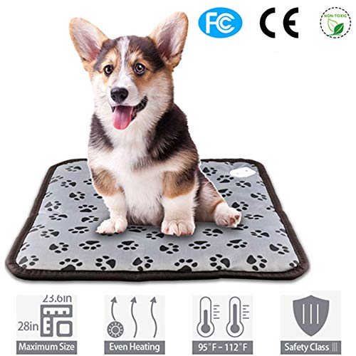 zswell 1 Pack Waterproof Pet Dog Cat Heating Pad Electric Heating Warming Beds with Anti Bite Tube,Constant Temperature Warming Bed for Dogs and Cats(Color Random)