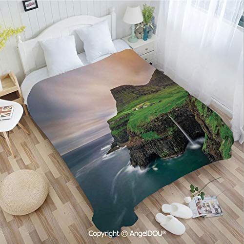 - AngelDOU Warm air Conditioner Flannel Blanket W72 xL78 Aerial View of Majestic Cliffs in Northern Village and Iconic Waterfall Scene Photo for Bed Cover Sofa car use.