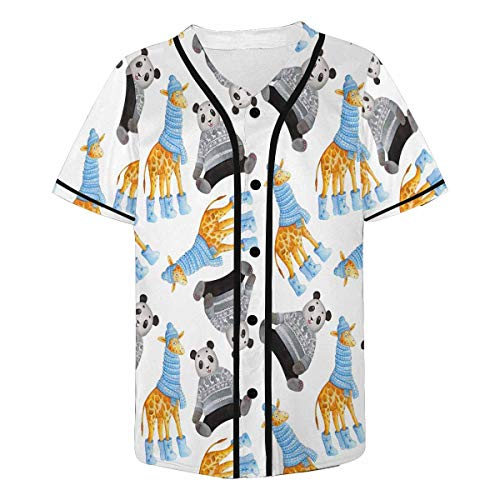 INTERESTPRINT Men's Cute Cartoon Giraffes and Pandas Baseball Jersey Button Down T Shirts Plain Short Sleeve 3XL