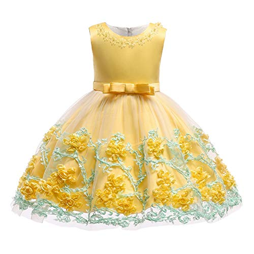 (TUOKE Cute Princess Dress for Girls Big Bow-Knot Back Zipper Christmas Fashion Gown Dresses for Special Occasion Birthday Wedding Party First Communication 12-18 Months)