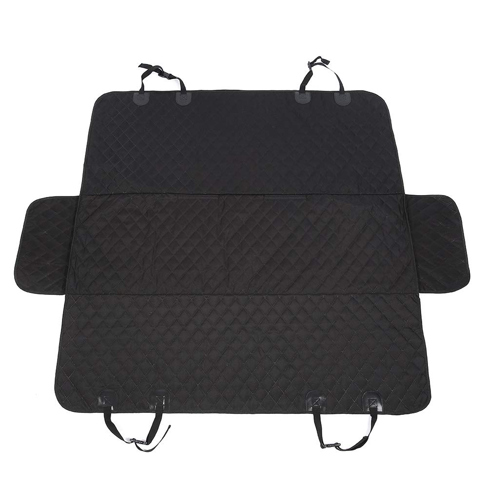 Pet Dog Car Seat Cover, Rear Seat Predector Durable Waterproof Scratch-Proof Car Boot Liner Predector Seat Mat Fits Most Cars, SUV, Vans & Trucks Black with a Safety Seat Belt Black