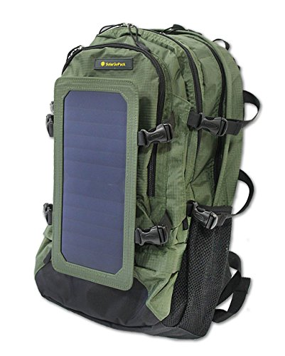SolarGoPack Solar Powered Backpack / 7 Watt Solar Panel and 10K mAh Charging Battery Daypack / Phone and Electronic Device Power Charger Back Pack / Army Green