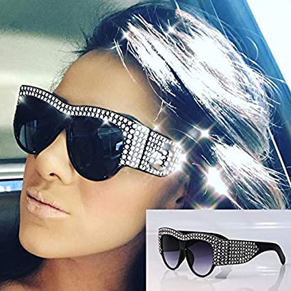 73f29a2a4b84 Amazon.com  2019 Oversized Rhinestone Frame Square Sunglasses For Women  Diamond Shiny Brand Glasses Designer Fashion Female Shades  Everything Else