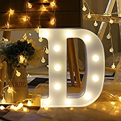 XEDUO 26 A-&-Z Alphabet Letter LED Light Up White Plastic Letters Standing Hanging for Xmas Wedding Birthday Party Home Decor (D)