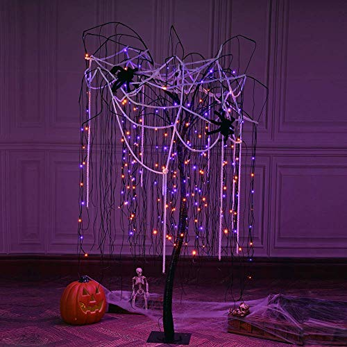 Spooky Trees For Halloween (LIGHTSHARE 7 Feet Halloween Willow Tree, 256 LED Lights for Home, Festival, Nativity,Party, and Christmas Decoration,Includes Spiders and White Cobweb,Indoor Outdoor Use,Orange &)