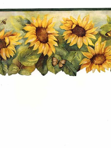 BG71362DC Dark Green Yellow Sunflower & Insect Wallpaper Border