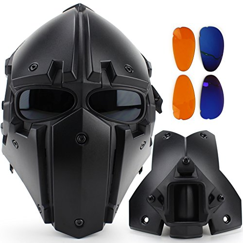 WoSporT New Module Tactical Airsoft Paintball WoSporT Helmet and Mask Two-in-one (4 COLORS, 3 PATTERNS) (OBSIDIAN (HL-90)) (Custom Paintball Mask compare prices)