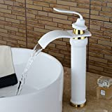 Full copper high-grade chrome-plated white paint on the Nordic style platform pots high waterfall constant pressure water faucet