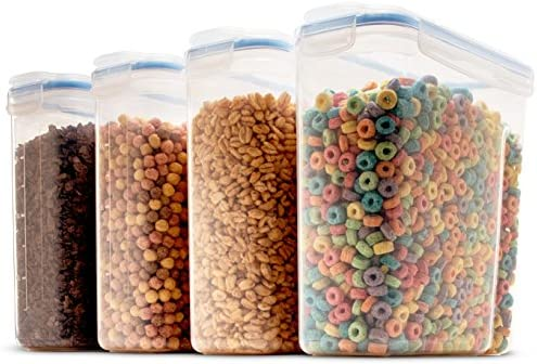 Set of four Large Cereal & Dry Food Storage Containers BPA-Free Plastic Container Airtight Lid Suitable for Cereal, Flour, Sugar, Coffee, Rice, Nuts, Snacks, Pet Food & More (4L, 16.9 Cup, 135.5 Ounce)