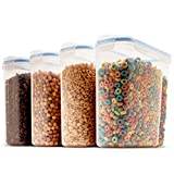 Set of 4 Large Cereal & Dry Food Storage Containers BPA-Free Plastic Container Airtight Lid Suitable for Cereal, Flour, Sugar, Coffee, Rice, Nuts, Snacks, Pet Food & More (4L, 16.9 Cup, 135.5 Ounce)
