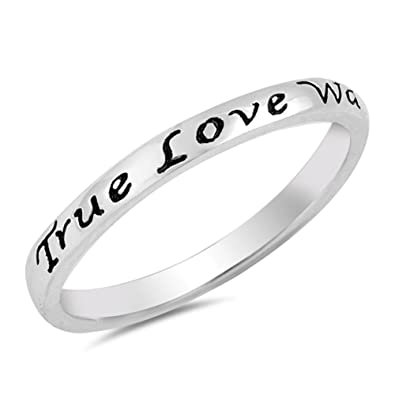 True Love Waits Heart Script Ring .925 Sterling Silver Promise Band Size 3