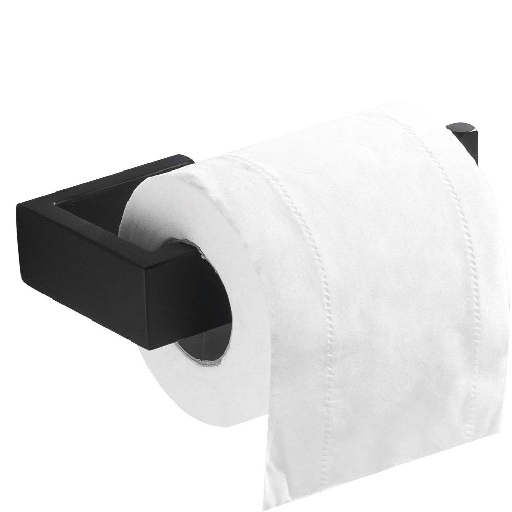 Flybath Porte-papier Toilette Sans Couvercle SUS 304 Acier Inoxydable Fini Noir Mat Salle de Bain Porte-rouleau Mural