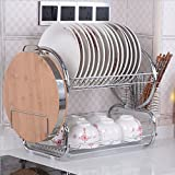 Hurbo 2 Tier Stainless Steel Dish Rack Basics Dish Plastic Drainer Dryer Tray Holder Organizer (Silver)