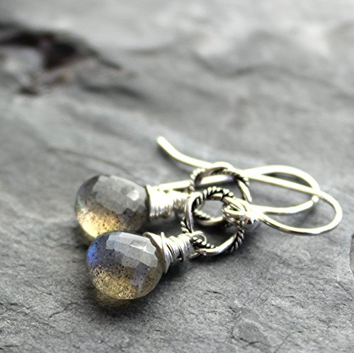 - Petite Labradorite Earrings Sterling Silver Gray Gemstone Drops Faceted Wire Wrapped