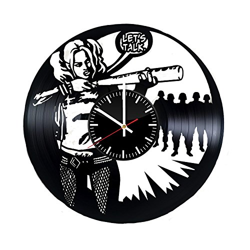 Poison Ivy Villain Costume Ideas (Harley Quinn Supervillain Vinyl Record Wall Clock - Get unique bedroom or nursery wall decor - Gift ideas for adults and youth – DC Comics Unique Fan Art Design)