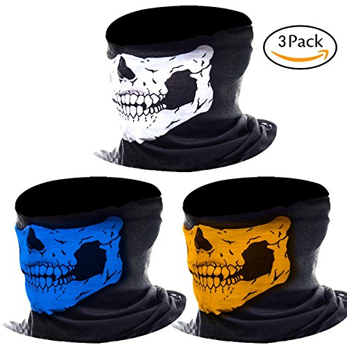 MKLOT 3Pcs Motorcycle Face Masks Skull Mask Half Tube Skeleton Face for Out Riding Motorcycle Bicycle Halloween Party - Mix (The Party Mix Halloween)