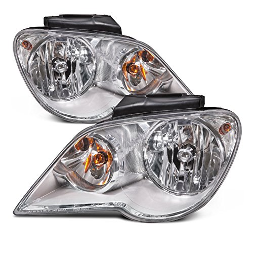 HEADLIGHTSDEPOT Headlights Set Halogen Chrome Compatible with Chrysler Pacifica