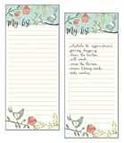 Set of 2- Birds and Blossoms List Pad, Notepad, Shopping List with Attachable Magnet