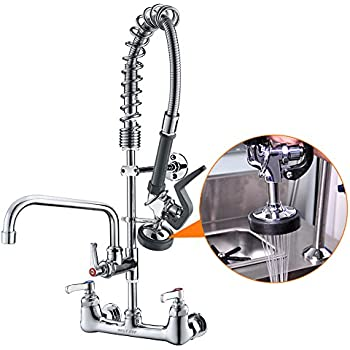 Commercial Kitchen Wall Mount Faucet With Sprayer Add On Faucet