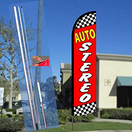 ATM HERE Windless Feather Flag Bundle 11.5 Tall Flag, 15 Tall Flagpole, Ground Mount Stake