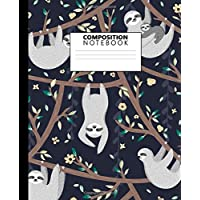 Composition Notebook: Vintage Lazy Sloth College Ruled Notebook. Cute Medium Lined Journal for Students, Kids and Teens for Writing & Notes.