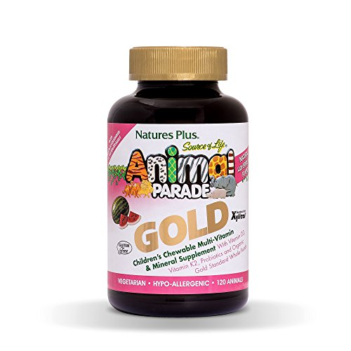 Natures Plus Animal Parade Source of Life Gold Childrens Multivitamin - Watermelon Flavor - 120 Chewable Animal Shaped Tablets - Organic Whole Foods, Gluten Free, D3, K2, Immune Support - 60 Servings